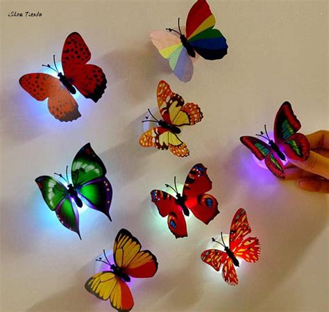 C40 Wallpaper Sticker Green With Butterfly ishowtienda 10 pcs 3d wall stickers lifelike butterfly powered led lights wall stickers 3d house