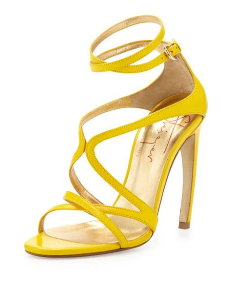 yellow strappy sandals walter steiger strappy leather convex heel sandal yellow