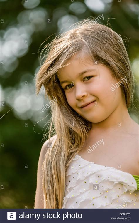 7 year old girl stock photo portrait of seven year old long haired girl wearing a