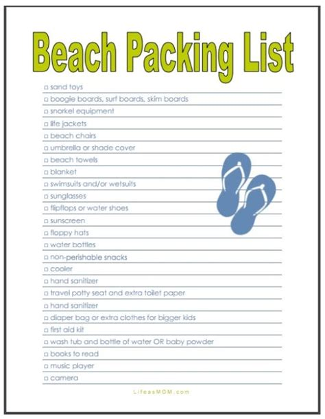 beach vacation packing checklist printable another1st org