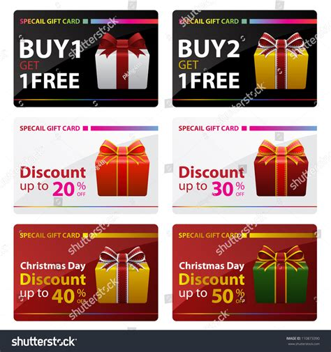 Buy One Get One Free Restaurant Gift Cards - special gift cards buy one get one free and discount christmas day stock vector