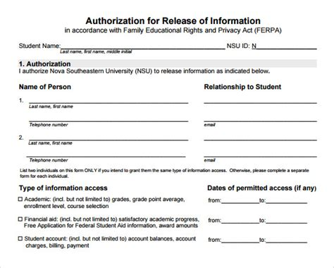 release of information form template sle release of information form 8 free