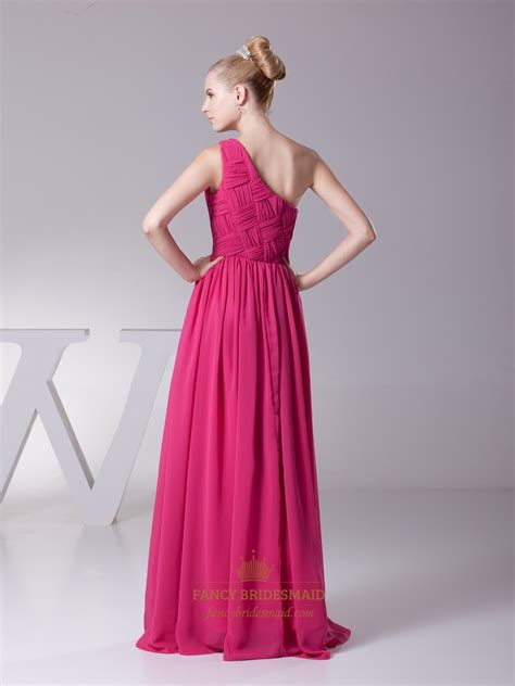 one shoulder prom dresses are very trendy hot pink embellished one shoulder chiffon prom dress with