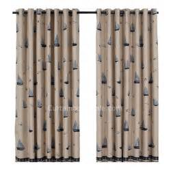 Nautical Blackout Curtains Discount Blackout Nautical Print Polyester Beige Style Of Curtains