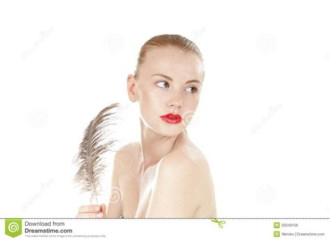 preteen girl with white feathers stock image image of beautiful young girl with a ostrich feather royalty free