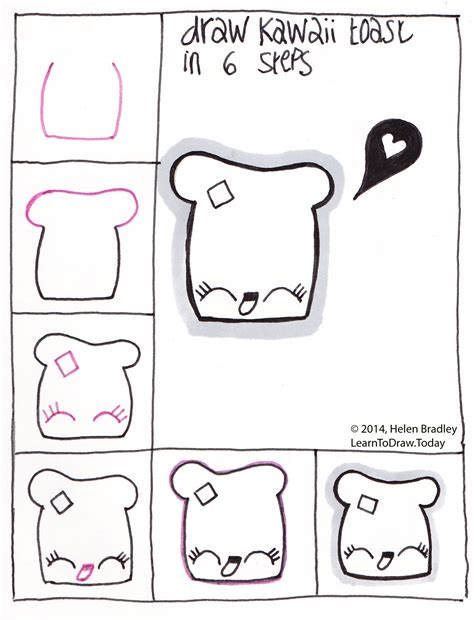how to make doodle for beginners draw kawaii toast step by step kawaii and doodles