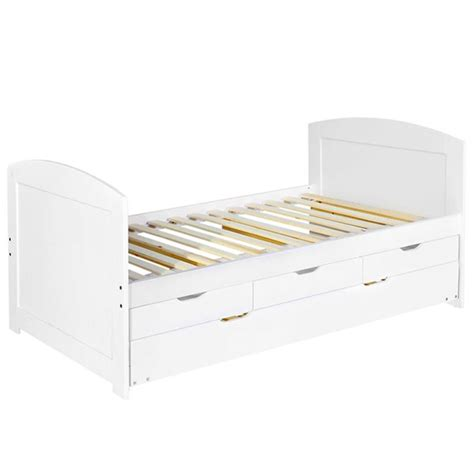 Single Wooden White Storage Bed Frame W Trundle Bed Buy Storage Bed Frames