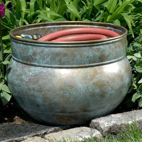 garden hose container water hose pot blue verde in garden hose storage