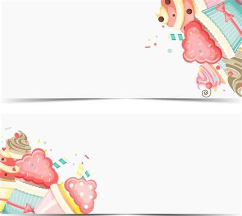 cupcake with happy birthday banner vector 01