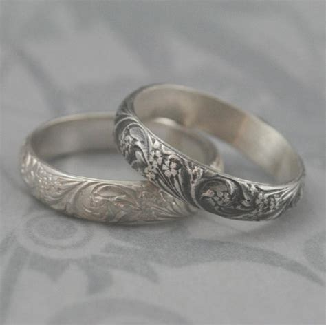 vintage style band silver wedding band bridal bouquet