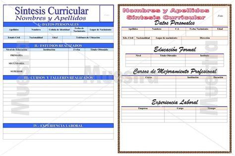 Plantilla De Sintesis Curricular modelos de sintesis curriculares libreriaspopular