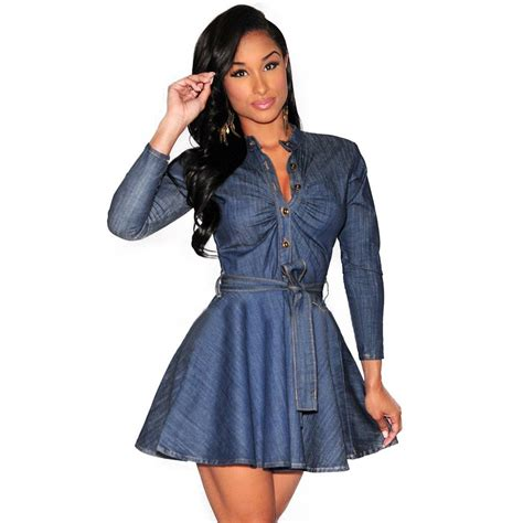 Dress Denim Careena Belt vestido de festa fashion slim fit denim jean dress bowknot belt sleeve shirt dress jpg