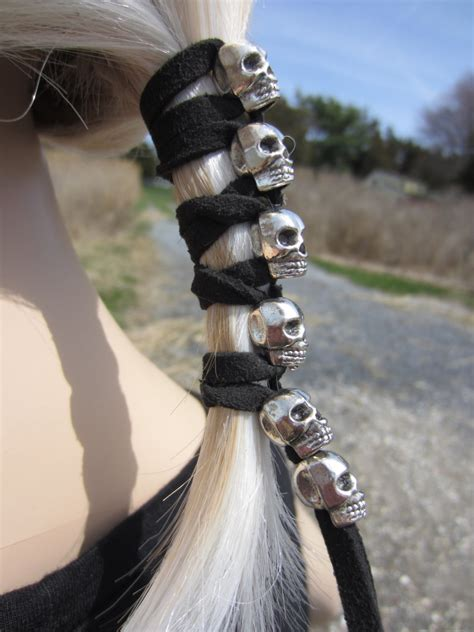 leather hair band ponytail wrap ponytail holder hair tie postmordem funeral ponytail holder hair accessories skull