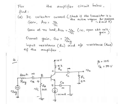 transistor lifier problems and solutions for the lifier circuit below find dc collecto chegg