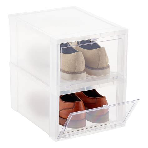 mens shoe storage boxes s drop front shoe box the container store