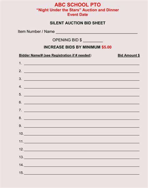 Bid Sheet Templates For Silent Auction In Word Excel Pdf Format Bid Worksheet Template