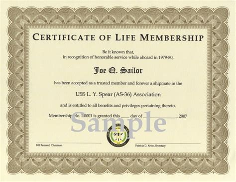 honorary certificate template uss l y spear as 36 association association membership