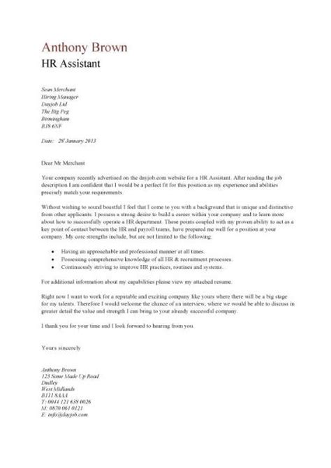 Cover Letter Sle To Human Resources Cover Letter Exle For A Human Resources Writing Resume Sle Writing Resume Sle