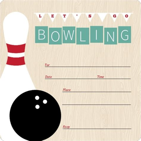 vintage turquoise fill in the blank bowling invitation
