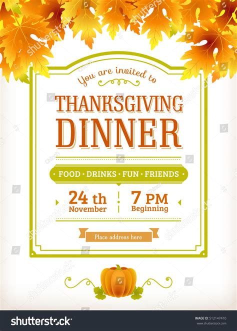 Invitation Thanksgiving Dinner Party Vector Template Stock Vector 512147410 Shutterstock Dinner Poster Template