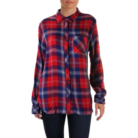 lunch lounge 4680 womens leigh plaid flannel button top shirt bhfo ebay