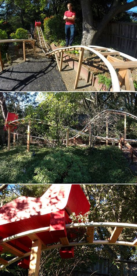 backyard coaster dad spends 300 hours building functional roller coaster in