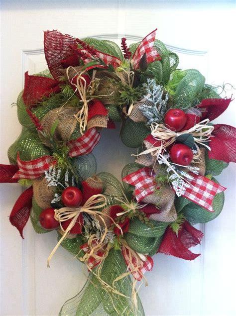 apple harvest wreath themed fall autum teacher wreath with deco mesh