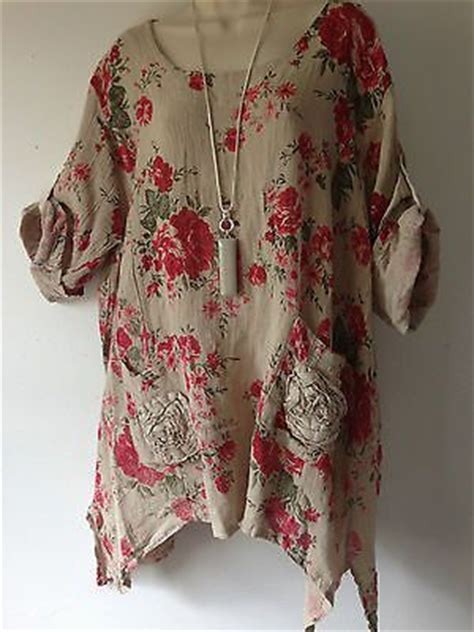White Yellow Ethnic Print Top Size Sml lagenlook hessian linen beige floral print tunic top