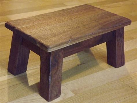 wooden step stool solid walnut rustic reclaimed wood farmhouse stool
