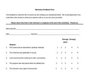 workshop feedback form template 10 sle workshop feedback forms