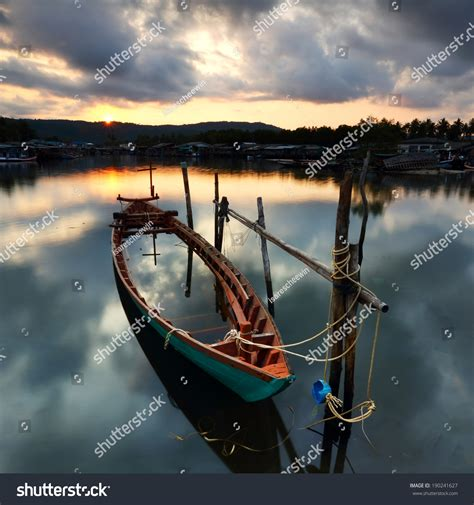 the boat was drowned fishing boat drowned fishing village on stock photo