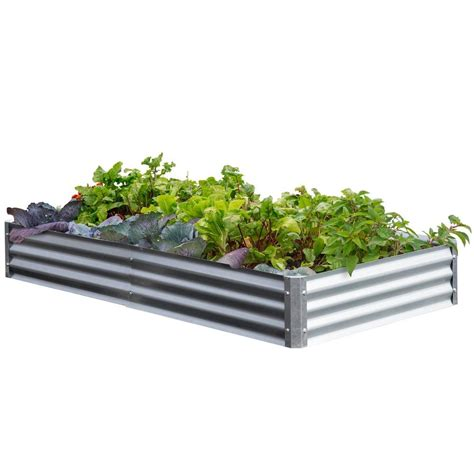 metal raised garden beds earthmark bajo series 40 in x 76 in x 10 in galvanized