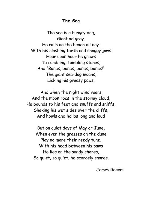 the sea by james reeves themes poetry english literature 2015 o l batch syb