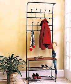 black metal entryway bench with coat rack and shoe rack