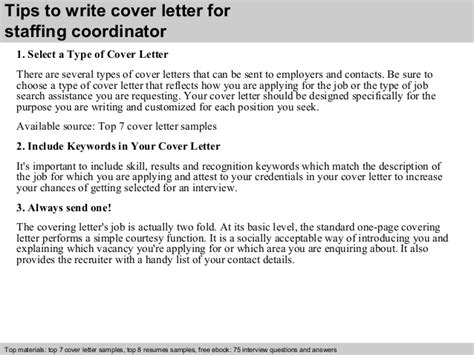 Staffing Coordinator Cover Letter by Staffing Coordinator Cover Letter