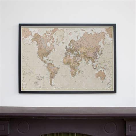 Frame Vintage Medium medium antique world map wood frame black