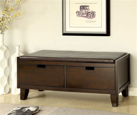 drawer storage bench hebron 2 drawer storage bench from furniture of america