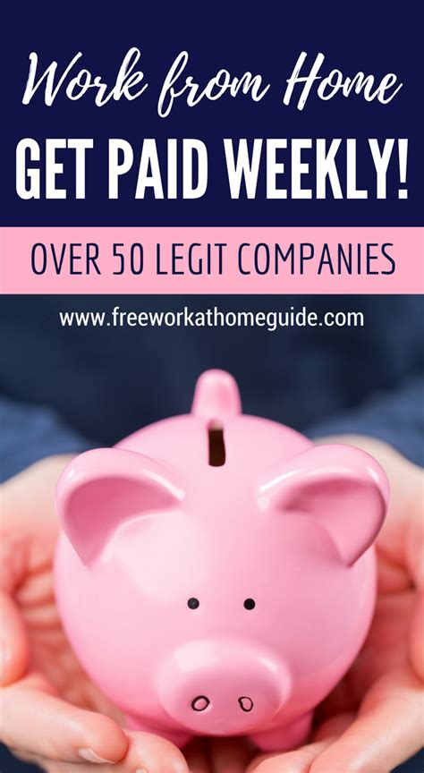 Online Work From Home Jobs That Pay Weekly - over 50 companies that offer weekly paying home based jobs