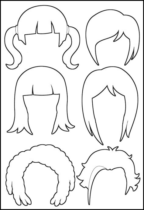 printable hairstyle pictures superhero paper dolls hair outline