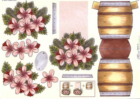 christmas flower barrel stand   decoupage sheet