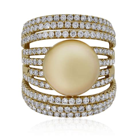 18k yellow gold 2 49ctw pearl ring