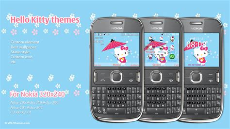 themes com nokia 200 hello kitty blue theme asha 205 asha 210 asha 200 asha 201