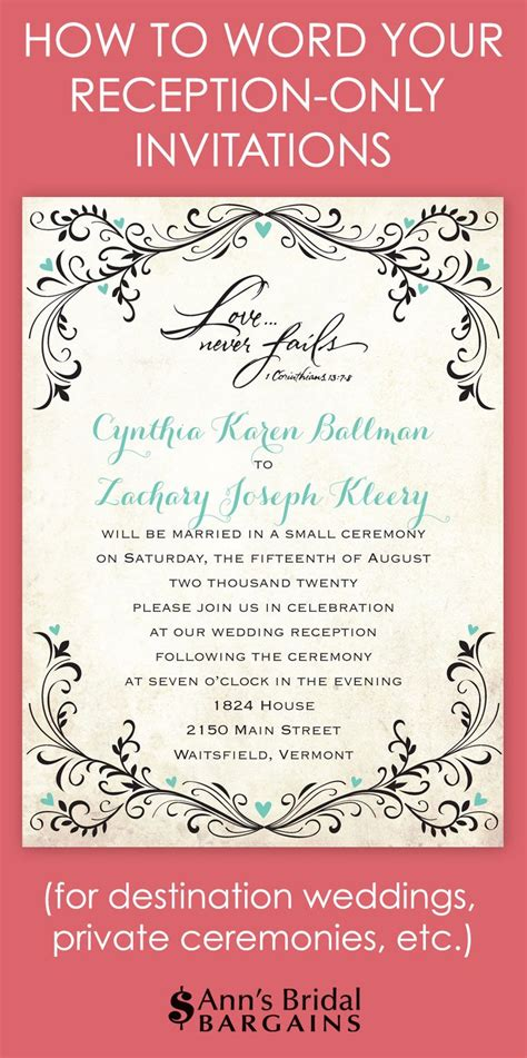 exle wedding reception only invitation wording whether you ve chosen to a destination wedding and a