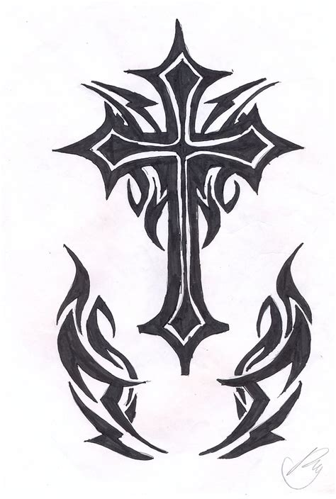 cross tattoo with tribal background tribal cross by soifonsama on deviantart