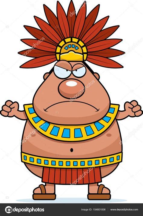 imagenes de los mayas animados rey de azteca de dibujos animados enojado vector de