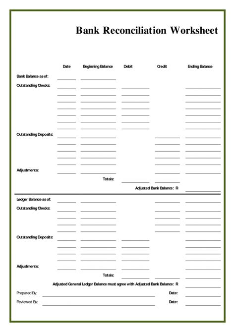 bank reconciliation template exle masir