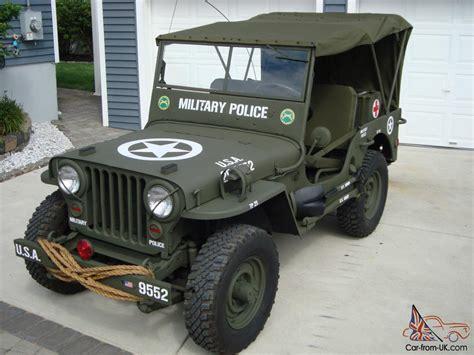military police jeep willys 1946 cj2a u s army ww2 type military police style