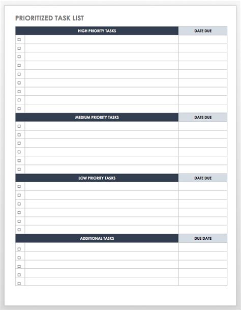 Free Task And Checklist Templates Smartsheet Priority To Do List Template