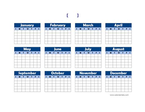 yearly blank calendar landscape  printable templates
