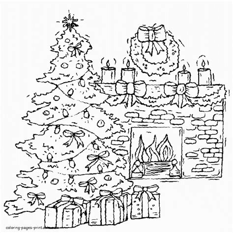 christmas tree and fireplace coloring page
